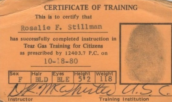 Apparently my mom had tear gas training. Not sure when that would come in handy.